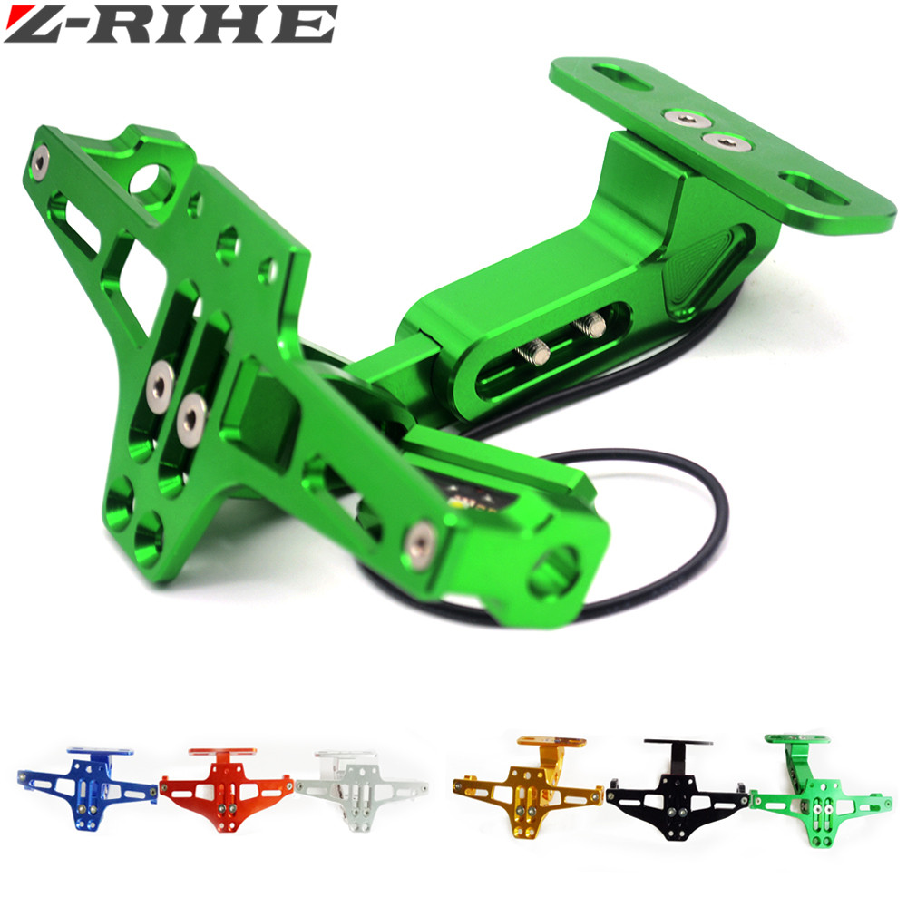 Motorcycle Adjustable Angle Aluminum License Number Plate Frame Holder Bracket FOR YAMAHA R1 R6 XJ6 FZ8 KTM KAWASAKI Z1000 Z800 universal motorcycle adjustable angle aluminum license number plate frame holder bracket for ktm duke 200 390 sx f exc f 85 sx