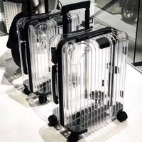 INS Transparent PC Luggage Unique Stylish Trolley Case Light weight Zippered Suitcase Traval Bags
