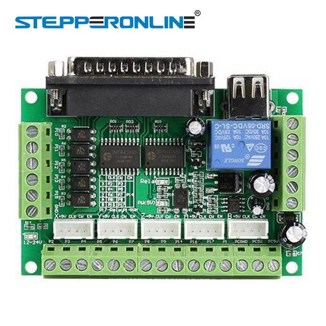 1PC 5 Axis MACH3 CNC Breakout Board Interface with USB DB25 Cable for Stepper Motor Drive Controller