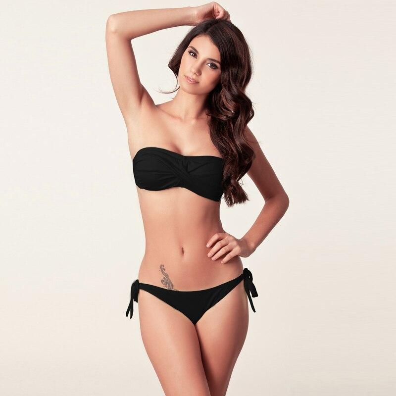 2017 New Black Bikini Push Up Removable Neck Halter Beachwear Back Waist Ties Bandage Swimwear Bikini Twisted Bandeau Swimsuit twister family board game that ties you up in knots
