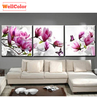 WELLCOLOR Magnolia Flowers Modular Pictures Triptych Wall Paintings Diamond Embroidery DIY 5D Full Beads Diamond Mosaic