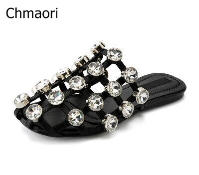Drop Shipping Summer 2017 Girls Casual Black/Nude/White Cage Cuts Out Crystal Diamond Bling Bling Flat Slide Beach Sandals 44 карабин black diamond black diamond rocklock twistlock