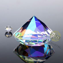 10PCS 30MM Aurora Borealis Glass Crystal Diamonds Paperweight  Decorative Faceted  Crystal for wedding table decoration Gift Bag