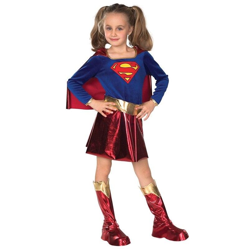 Kids Girls SHIRT Hero Supergirl Superman Halloween Cosplay Costume For Kids Supply