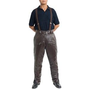 Image 3 - Bruin Heren Luxe Koeienhuid Broek Plus Size Losse Echt Echt Lederen Broek Man Ritsen Motorrijden Broek Winter Warm