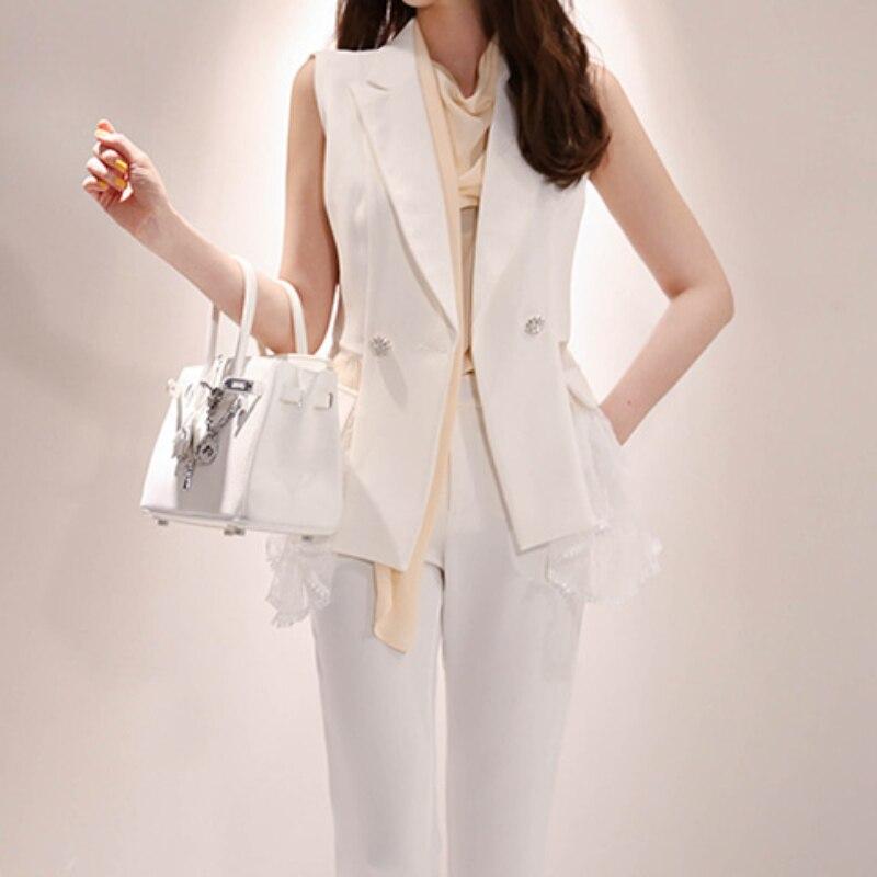 Décontracté femmes pantalons costumes dentelle Patchwork gilet Blazer veste et taille haute crayon pantalon décontracté 2 pièces ensemble femme blanc travail costumes