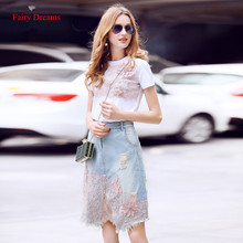 Fairy Dreams 2 Piece Set Women Costume White T shirt Suit The Feminine Tops And Denim Blue Skirt Hole 2017 Summer Casual Clothes