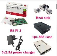 Raspberry pi 3 + 3 pcs. Aluminum Radiator + Raspberry pi 3 ABS Case Box + 5V2. 5A charger jack Raspberry pi 3 B