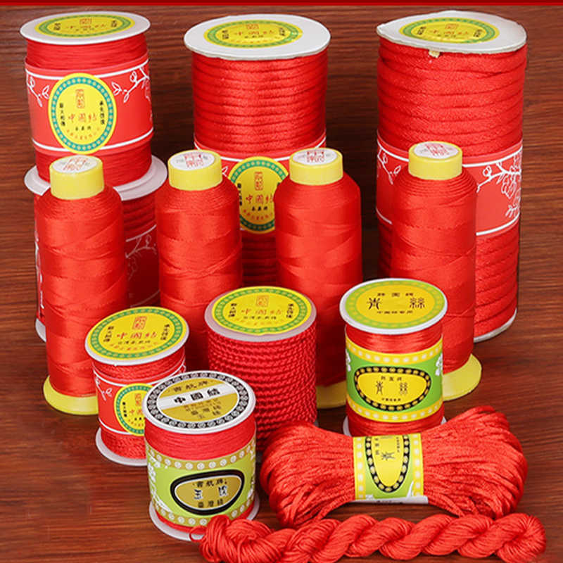 Red Color Mix Size Pick Nylon Cord Thread Chinese Knot Macrame Cord Bracelet DIY Tassels Beading  String Thread Supply