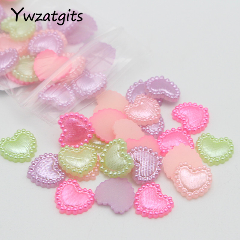 New 12mm 50pcs White Heart-Shaped Pearl Bead Flat Back Scrapbook For Crafts