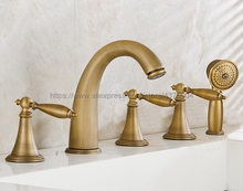 Widespread Antique Brass Bathtub Mixer Filler Roman Bath tub Sink Faucet Deck Mounted 5 holes Ntf036