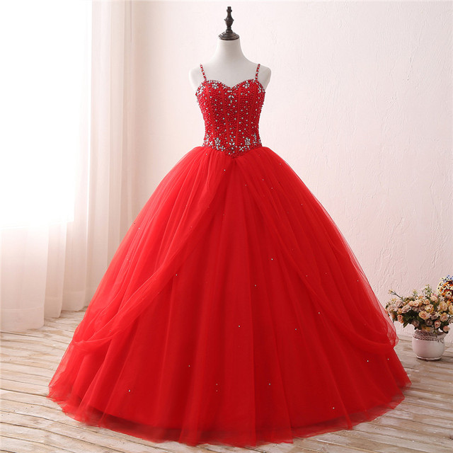 a695136aca Red Ball Gown Quinceanera Dresses Spaghetti Sweetheart Pearls 2019 Sweet 15  Year Princess Dresses Vestidos De