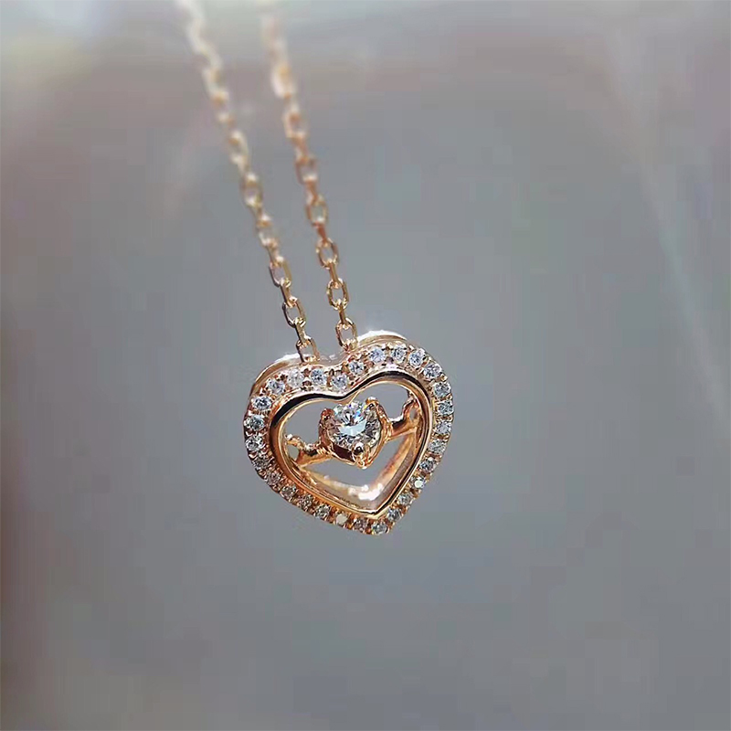 ANI 18K Rose Gold (AU750) Pendant Necklace 0.118ct Real Diamond Jewelry Custom Heart Shape Pendant Necklace for Women Engagement stylish hollow out heart shape pendant necklace with owl for women