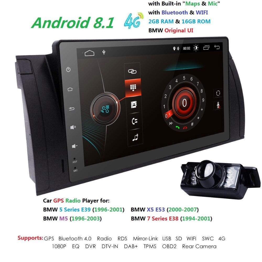 9 pouces Android 8.1 Quad Core 2G + 16G GPS Voiture DVD Lecteur Magnétophone Radio 4 3gwifi pour BMW E39 2002 2003 E38 X5 E53 M5 Gamme Rover
