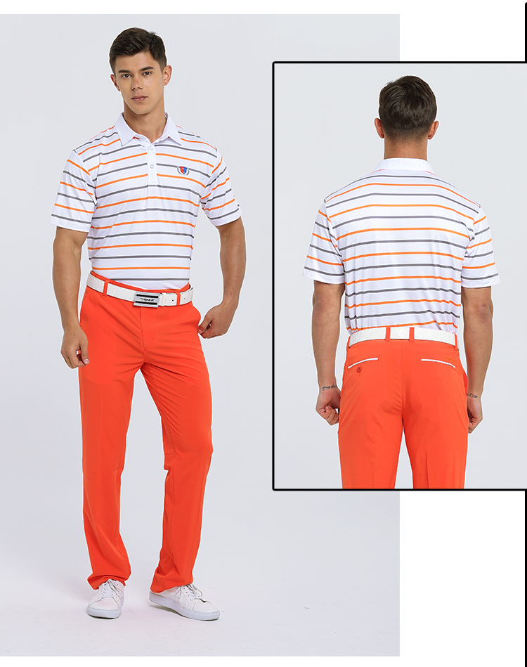 Mens Summer Sports Golf T-shirt Men Stripe Golf POLO Shirt Quick-drying Tops Breathable Perspiration Short-sleeved Sportswear