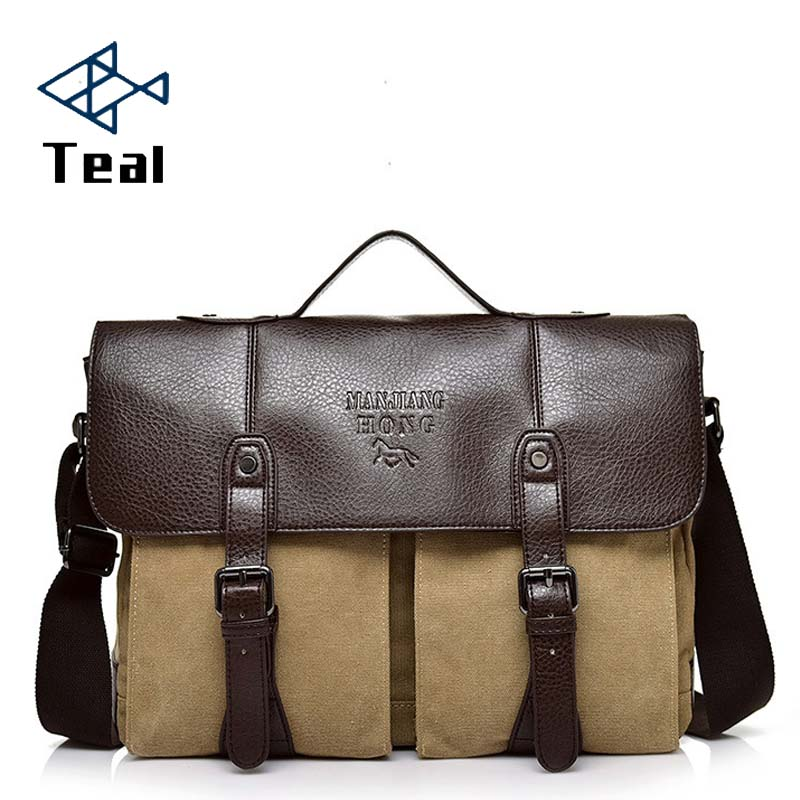 2019 New Canvas Leather Men's Briefcase Casual Vintage Men's Crossbody Bag Bussiness Shoulder Messenger Bag For Women Man Unisex