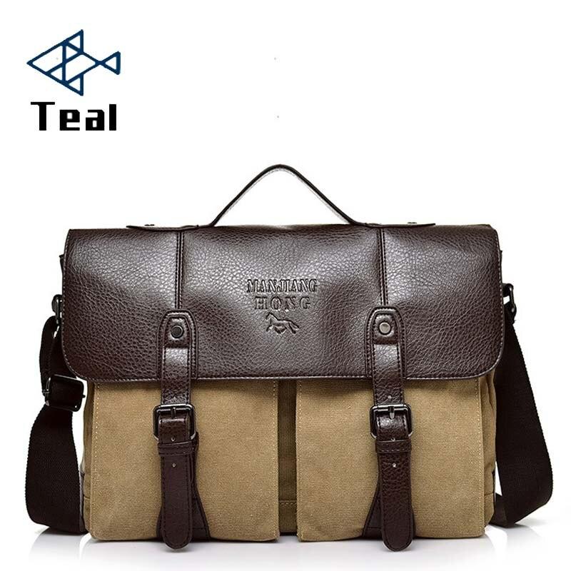 2020 New Canvas Leather Men's Briefcase Casual Vintage Men's Crossbody Bag Bussiness Shoulder Messenger Bag For Women Man Unisex