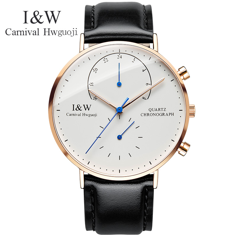Carnival Watch Men Quartz ultrathin Dial Waterproof Stainless Steel Multiple Time Zone multifunction Black Leather Watches ns 468at network