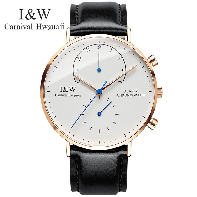 c485c77d067 Carnival Watch Men Quartz ultrathin Dial Waterproof Stainless Steel  Multiple Time Zone multifunction Black Leather Watches