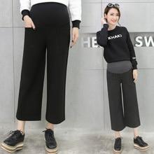 Maternity Wide-Legged High Waist Woolen Casual Trousers