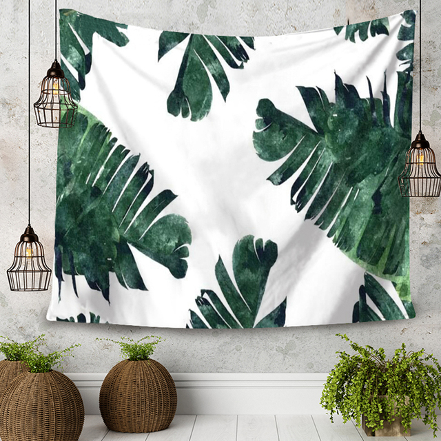 Tropical Rain Forest Plants Leaf Pattern Decorate Tapestry Wall Hanging  Pastoral Style Living Room Bedroom Tapestries