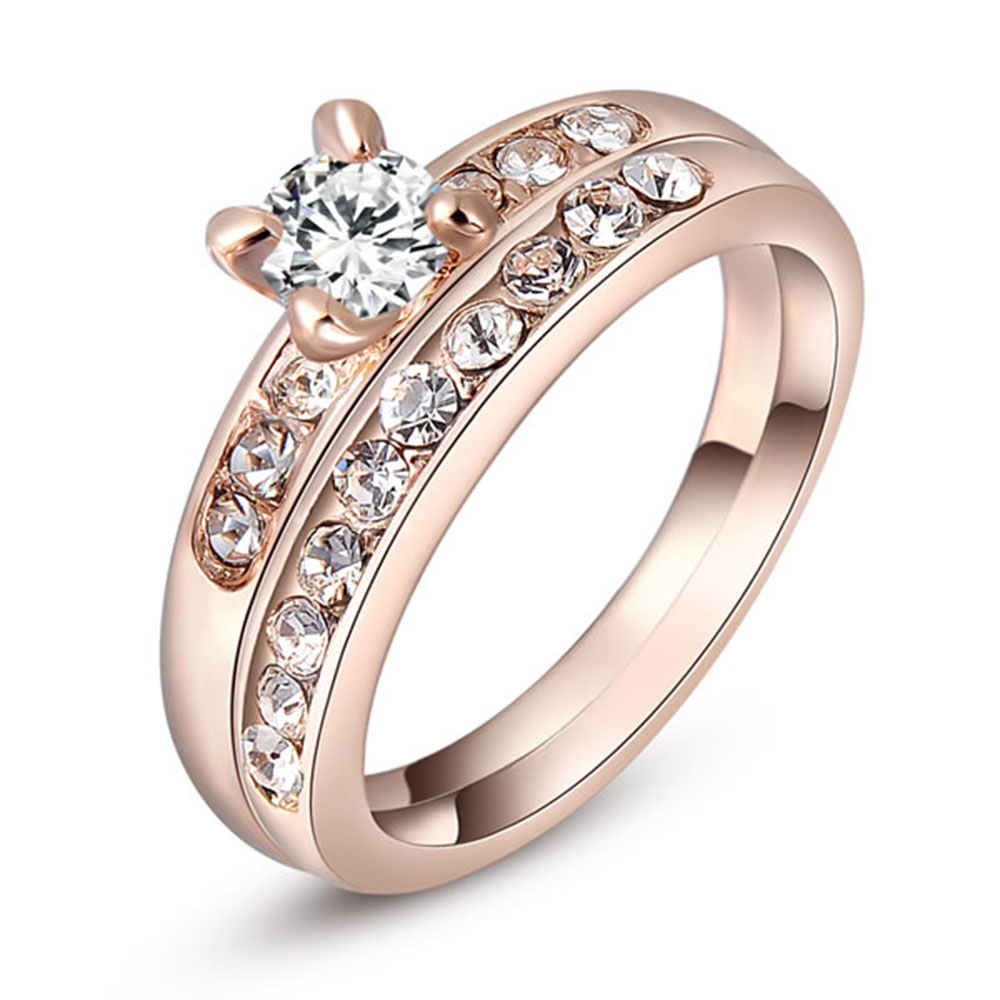 Classic Style Cubic Zirconia Ring Sets Lady's Rose Gold Plating Wedding  Rings Best Quality Couple Finger