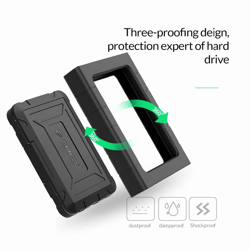 """ORICO 2.5"""" Type-C Rugged Waterproof & Shockproof 5Gbps 10Gbps External Hard Drive Enclosure for 2.5 inch 9.5mm& 7mm SATA HDD SSD"""