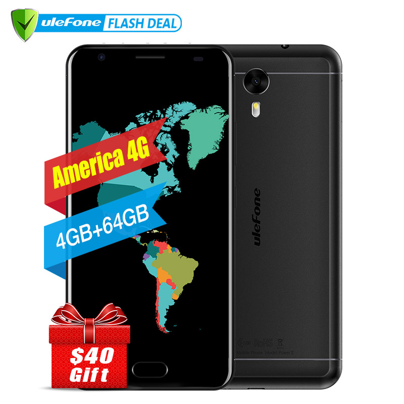 Ulefone Puissance 2 Amérique version Mobile Téléphone 5.5 Pouce FHD MTK6750T Octa base Android 7.0 4 GB + 64 GB 16MP 6050 mAh D'empreintes Digitales 4G