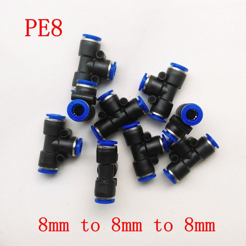 10pcs/lot  Pneumatic Air Fitting 8mm to 8mm to 8mm T Shape Quick Fitting Connector PE8 10pcs lot 4mm to 1 4 bspt elbow male air pneumatic quick connect jointer connectors fitting pl4 02