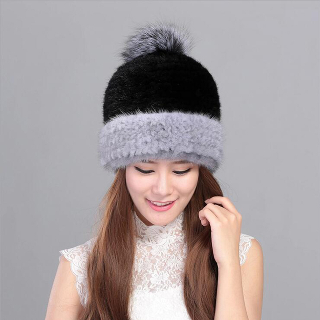 d33edc5467c New Double color 100% real mink fur hat for women winter knitted mink fur  beanies cap with fox fur pom poms thick female cap