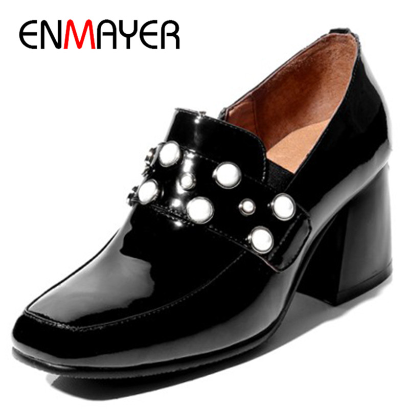ENMAYER High Heels Pumps Shoes Woman Round Toe Zippers Size 34-40 Patent Leather Dress Womens Shoes Black Red Classic Pumps the new puma womens shoes classic high classic star high tongue series white leather laser badminton shoes
