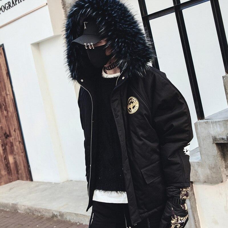 864c84fac90496 Punk Hop Rembourré Parkas Hommes Pardessus Mâle Col Épais De Fourrure À  Veste Coton Noir Hiver ...