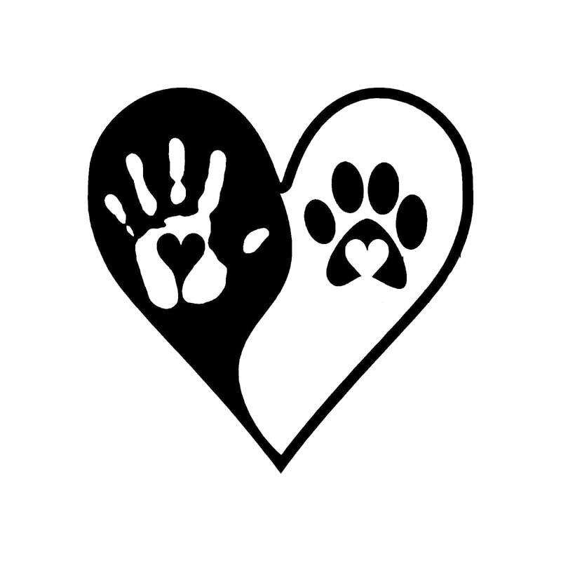 16cm 16cm Fashion Heart Yin Yang Hand Dog Paws Print Vinyl