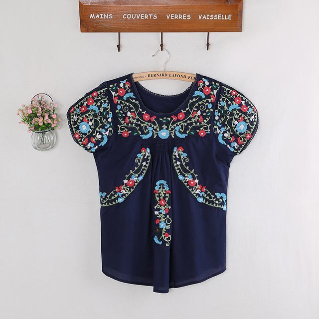 Vintage 70s Tunic Mexican Ethnic Embroidery Summer Women Dress Boho