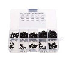 200pcs Black Allen Head Socket Hex Grub Screws Cup Point Assortment Kit Set M3/4/5/6/8 with PlasticBox Fastener Hardware