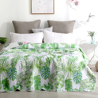 Bedding Green Leaves Print Cotton Polyester Bedspread Coverlet/Bed Cover Quilt Coverlet Summer Blanket 15 colors available #sw