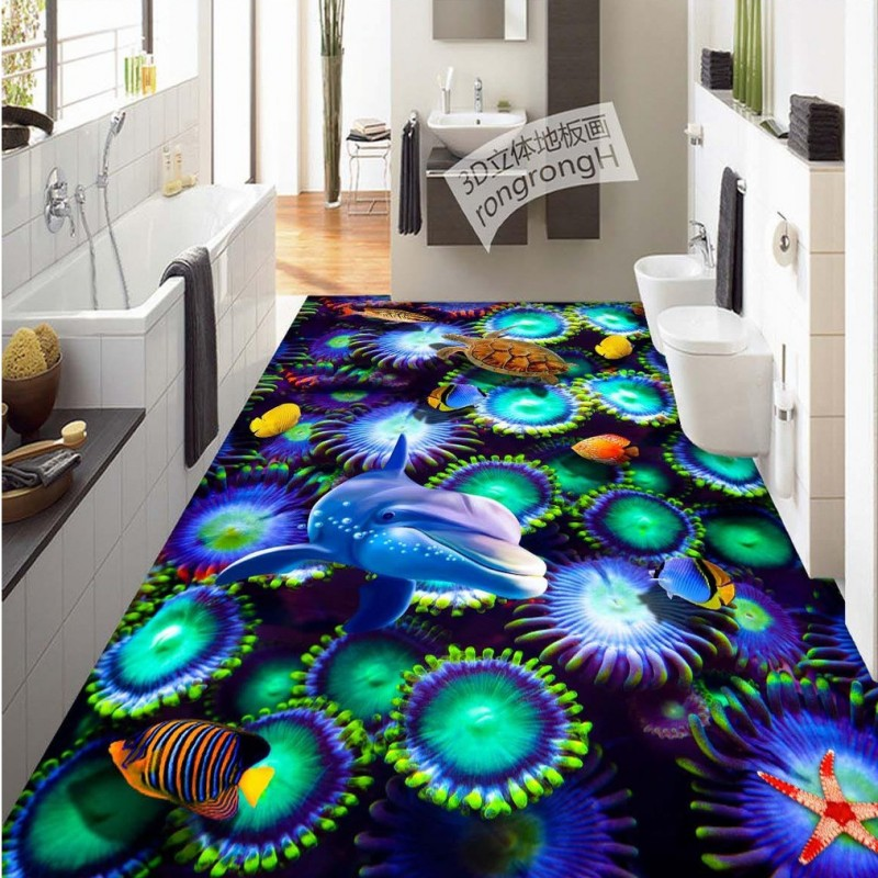 купить Free Shipping kitchen office flooring painting wallpaper Underwater Coral Sea Turtle self-adhesive 3D floor mural дешево