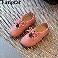 2017 Child PU Leather Princess Shoes Bowknot Girls Dancing Shoes Solid Color Baby Sneakers Flat Heel Causal Loafers