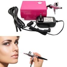 Airbrush&FREE SHIPPING compressor kit portable spray make up set cake decorating for nail/ tattoos/Party Cosmetics DIY