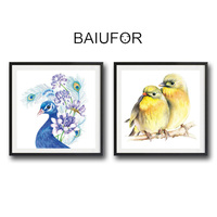 BAIUFOR Full Diamond Embroidery Animals 3D Diamond Mosaic Painting Pictures Of Peacock Panda Bird Cross Stitch