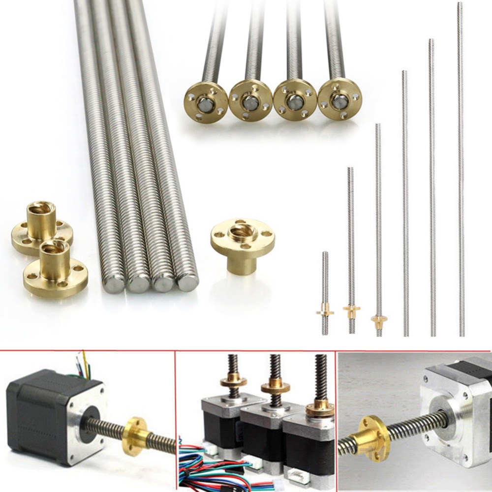 3d Printer Parts 100-600mm For Reprap 8mm Acme Threaded Rod Stainless Steel Leadscrew+T8 Nut For CNC 3D Printer
