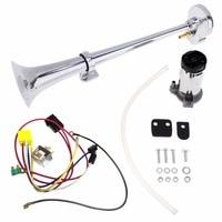 17 Inch 12V/24V 150DB Super Loud Single Car Trumpet Air Horn Compressor Car Horn Speaker Kit for Cars Trucks Boats Motorcycles|Multi-tone & Claxon Horns| |  -