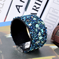2016 Luxury Bracelets Bangles Leather Wrap With Buckle Jewelry Magnetic Blue Bracelets Bangles for Women