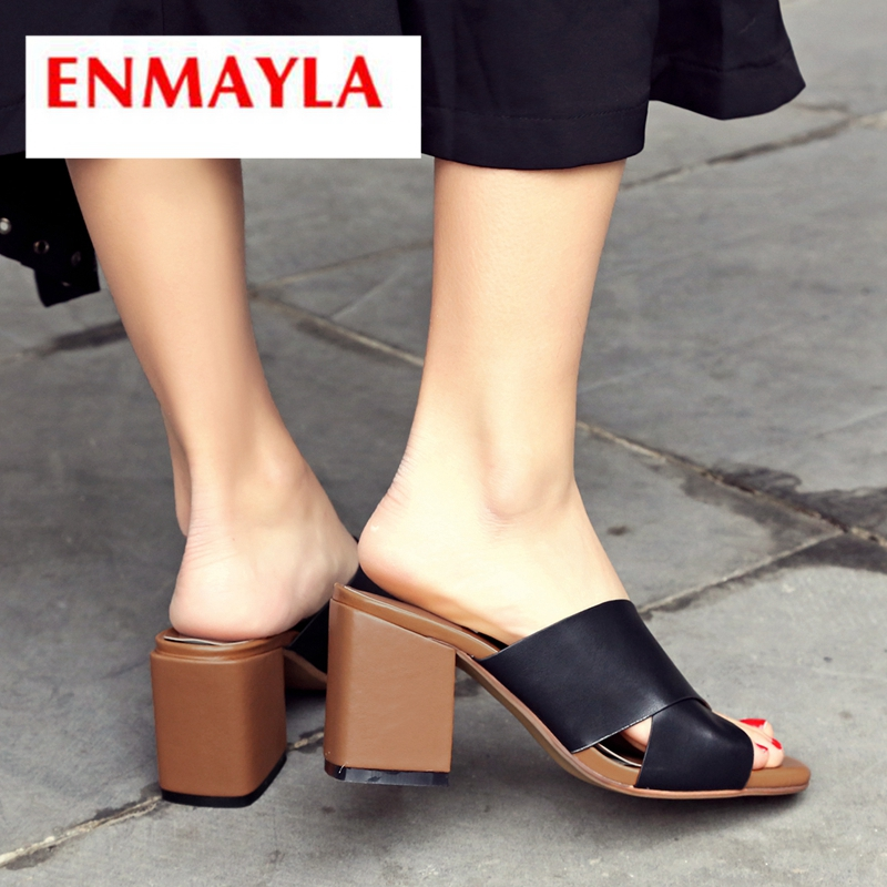 ENMAYLA 2019 New Arrival  Genuine Leather Solid Women Summer High Heel Slippers Outside  Women Shoes Size 34-43 LY2400ENMAYLA 2019 New Arrival  Genuine Leather Solid Women Summer High Heel Slippers Outside  Women Shoes Size 34-43 LY2400