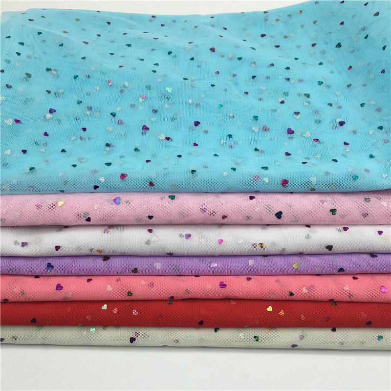 150cm Width Glitter Heart Sequin 100cm lot Soft Tulle Mesh Fabric Roll Wedding Sewing Mesh DIY Organza Tutu Skirt Accessories in Fabric from Home Garden