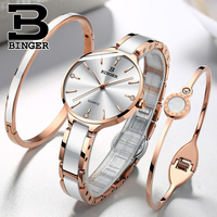 Switzerland BINGER 7MM Ultra Thin Quartz Watch Women Fashion Rose gold Ceramic Wristwatches Ladies Waterproof Montre Femme 2018