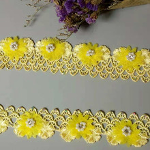 1 yard New Soluble Yellow Pearl Rose Flower Embroidered Lace Trim Ribbon Fabric Sewing Craft For Costume Hat Shoes Decoration