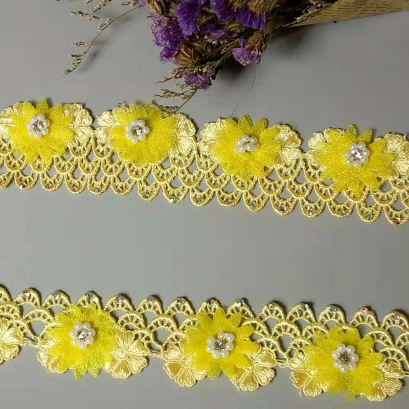 """2.8 Yards 8.5/"""" wide /"""" Wide Lovely Stretch Floral Lace Yellow 926"""