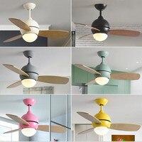 36 дюймов скандинавские Разноцветные Милые спальни светодиодный потолочный вентилятор свет лаконичная кухня столовая вентилятор свет иску