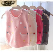 Children's Knitted Vest Handmade Colored Vest Set Girls Top Quality Sleeveless Sweaters Kids Girls Pullover Knitting Vest Coat(China)